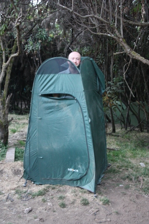 Toilet tent, with top off