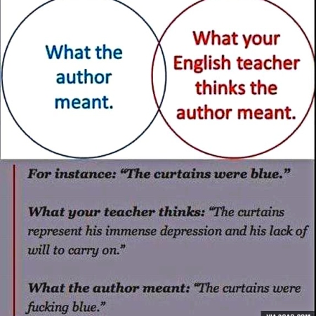 What the author meant and what the English teacher THOUGHT the author meant
