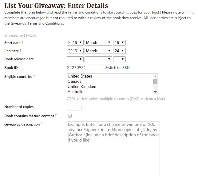 How to enter your book into a Goodreads Giveaway