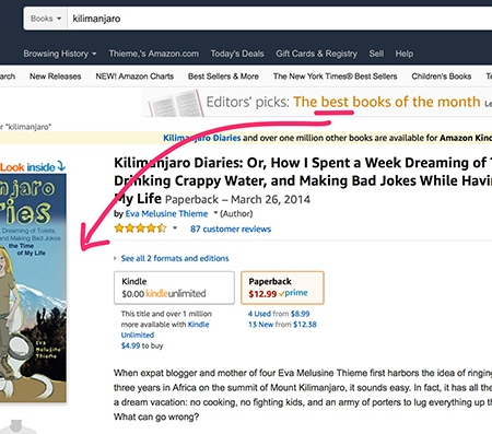 Kilimanjaro Diaries Amazon book listing