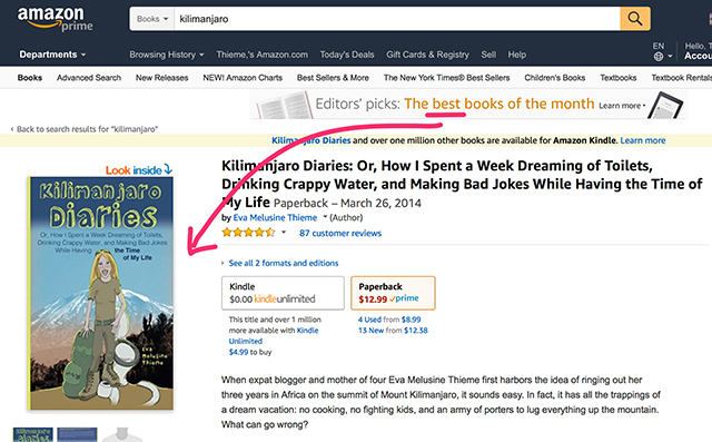 Kilimanjaro Diaries Amazon book listing