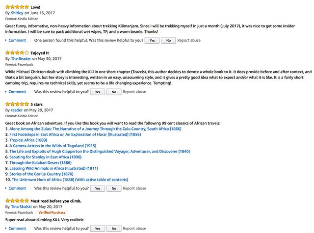 Kilimanjaro Diaries Amazon book reviews
