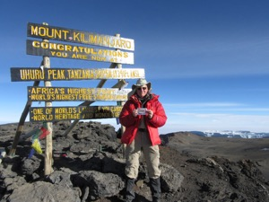 John on the summit of Kilimanjaro in August 2017