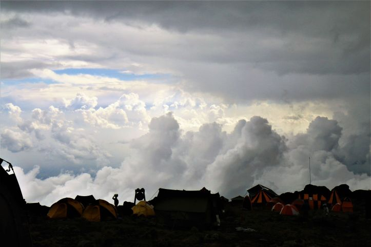 Silhouette of Barranco Camp on Mount Kilimanjaro