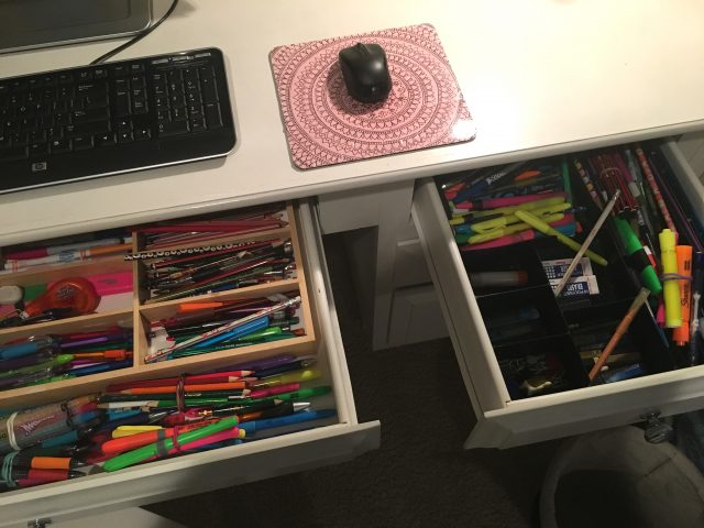 Kids' desk drawer: before picture