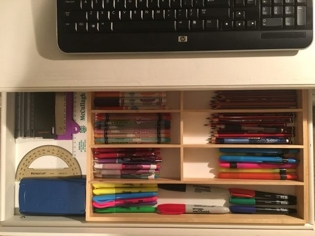 Kids' desk drawer: after picture